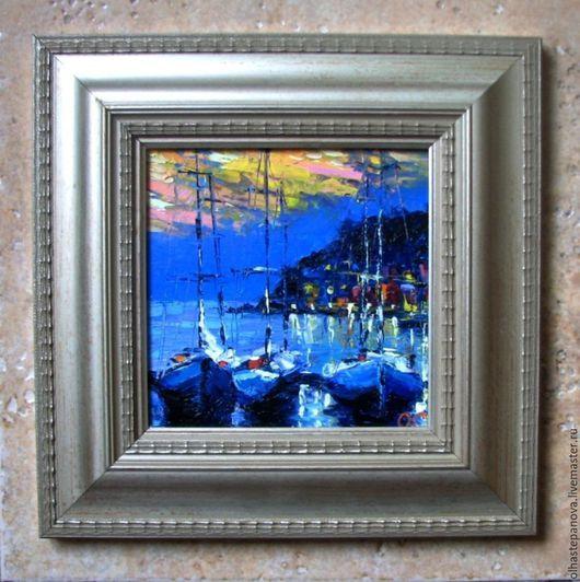 Пейзаж ручной работы. Ярмарка Мастеров - ручная работа. Купить Четыре картины с лодками, холст, масло.. Handmade. Комбинированный, лодки