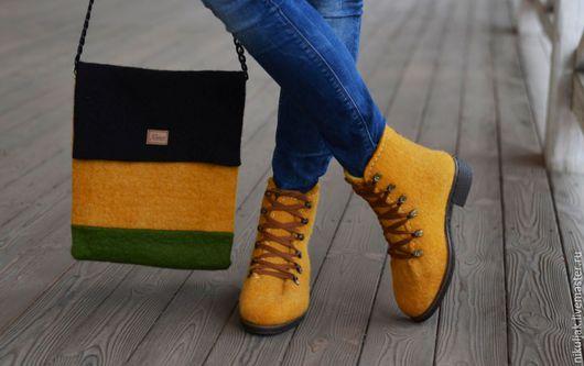 Обувь ручной работы. Ярмарка Мастеров - ручная работа. Купить Комплект ботинки, сумка валяный Оранж-2. Handmade. Оранжевый