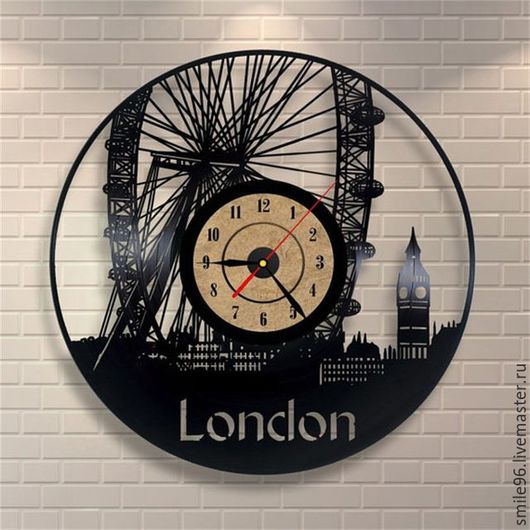 """Часы для дома ручной работы. Ярмарка Мастеров - ручная работа. Купить Часы из пластинки """"London"""". Handmade. Комбинированный, london, лондон"""