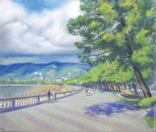 Пейзаж ручной работы. Ярмарка Мастеров - ручная работа. Купить Набережная в Геленджике. Handmade. Комбинированный, набережная, горы, облака, Геленджик