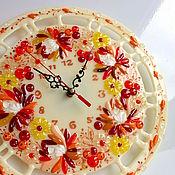 Для дома и интерьера ручной работы. Ярмарка Мастеров - ручная работа часы из стекла, фьюзинг   Осенний поцелуй. Handmade.