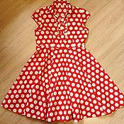 Одежда ручной работы. Ярмарка Мастеров - ручная работа Красное платье в горох из хлопка с эластаном. Handmade.