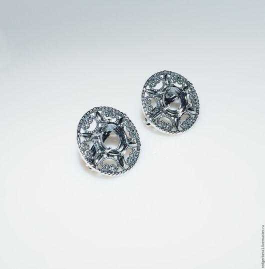 """Для украшений ручной работы. Ярмарка Мастеров - ручная работа. Купить Основа для серег """"Ирма""""(8 мм)- серебрение 925 пробы. Handmade."""