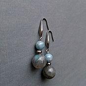 Украшения handmade. Livemaster - original item Earrings with natural stones, aquamarine and labradorite, jewelry steel. Handmade.