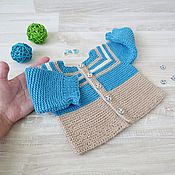 Работы для детей, handmade. Livemaster - original item Children`s knitted jacket for boy blue beige. Handmade.