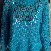 Одежда ручной работы. Ярмарка Мастеров - ручная работа Ажурный свитер морской бриз. Handmade.