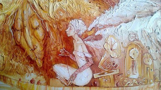 """Символизм ручной работы. Ярмарка Мастеров - ручная работа. Купить """"Зимний сон"""". Handmade. Бежевый, ангел-хранитель, интерьерная картина"""
