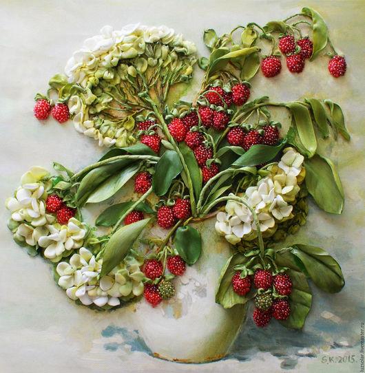 Картины цветов ручной работы. Ярмарка Мастеров - ручная работа. Купить Картина лентами Калинка -малинка 40 х 40 см. Handmade.