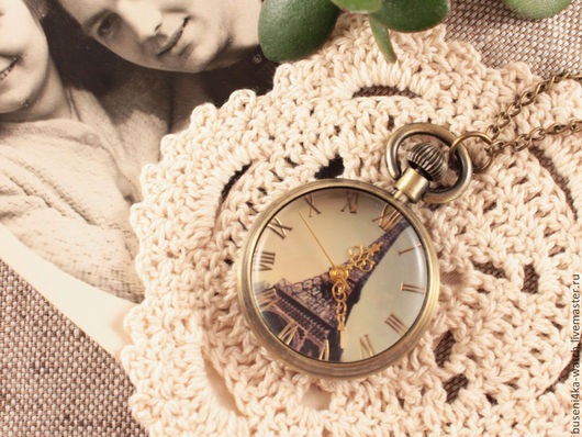 Для украшений ручной работы. Ярмарка Мастеров - ручная работа. Купить Часы-подвеска №44 Парижское время. Handmade.