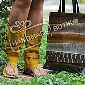Обувь ручной работы manualidades. Livemaster - hecho a mano Sandalias-Botas de cuero y gamuza Gorchichnye. Handmade.