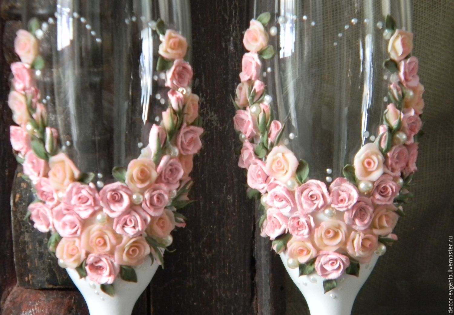 Shabby chic wedding toasting glasses rustic toasting flutesroses junglespirit Choice Image