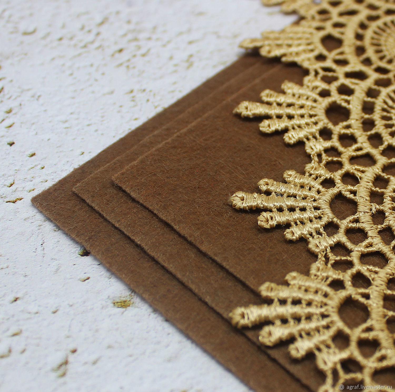 Felt: Base for embroidery Cafe Noir 15h15 cm thickness 1 mm, Felts, Solikamsk,  Фото №1