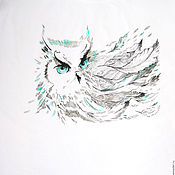 Одежда handmade. Livemaster - original item T-shirt,picture on tshirt,Owl,mint. Handmade.