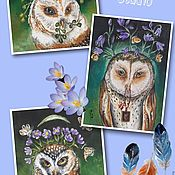 """Аппликации ручной работы. Ярмарка Мастеров - ручная работа Набор текстильных купонов:""""Spring Owls"""". Handmade."""