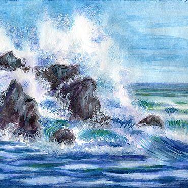 Картины и панно ручной работы. Ярмарка Мастеров - ручная работа Картина Море акварелью Морской пейзаж Скалистый берег моря. Handmade.