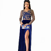 Одежда handmade. Livemaster - original item Dark blue velvet dress with embroidered lace bodice and back.. Handmade.