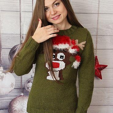 """Одежда ручной работы. Ярмарка Мастеров - ручная работа Джемпер """"Олененок-Санта"""" ) Подарок на Новый год Акция!. Handmade."""
