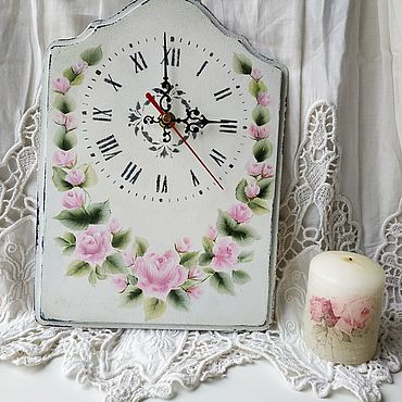 For home and interior handmade. Livemaster - original item Watch: Shabby roses ( PAINTING). Handmade.