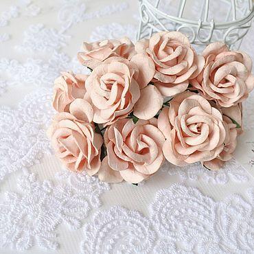 Цветы и флористика ручной работы. Ярмарка Мастеров - ручная работа Бумажные розы Розово-персиковые 4 см Бумажные розы для скрапбукинга. Handmade.