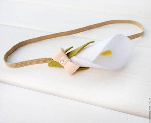 """Детская бижутерия ручной работы. Ярмарка Мастеров - ручная работа. Купить Повязка на голову для девочки """"Кала"""". Handmade. Белый"""