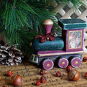 Для дома и интерьера ручной работы. Ярмарка Мастеров - ручная работа Паровозик дедушки  Мороза - винтажный - 2. Handmade.