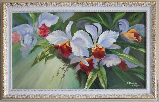 Картины цветов ручной работы. Ярмарка Мастеров - ручная работа. Купить Картина маслом Дикая орхидея. Handmade. Белый, орхидея