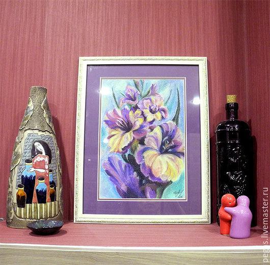 """Картины цветов ручной работы. Ярмарка Мастеров - ручная работа. Купить Картина """"Сиреневые гладиолусы"""". Handmade. Сиреневый, картина с цветами"""