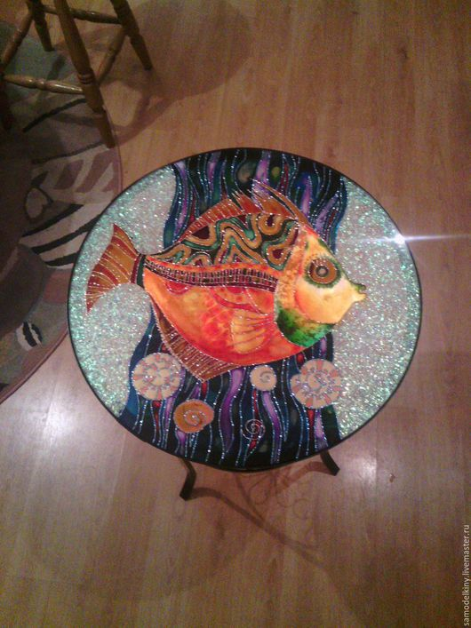 Мебель ручной работы. Ярмарка Мастеров - ручная работа. Купить Витражный столик. Handmade. Комбинированный, Роспись по стеклу, интерьер, стекло