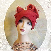 Аксессуары handmade. Livemaster - original item feminine cap сhalma with bow .wool, knitted, felted. Handmade.