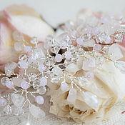 Свадебный салон ручной работы. Ярмарка Мастеров - ручная работа Свадебное украшение для прически невесты с розовым кварцем. Handmade.