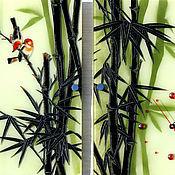 """Для дома и интерьера ручной работы. Ярмарка Мастеров - ручная работа Часы+панно """"Бамбуковый рай"""". Handmade."""