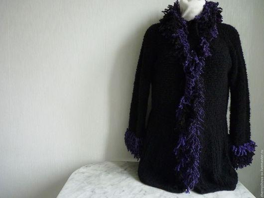 Кофты и свитера ручной работы. Ярмарка Мастеров - ручная работа. Купить Кардиган вязаный черный с шарфиком. Handmade. Черный