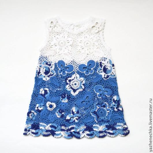 Одежда для девочек, ручной работы. Ярмарка Мастеров - ручная работа. Купить Платье из хлопка для девочки Гжель. Handmade. Платье для девочки