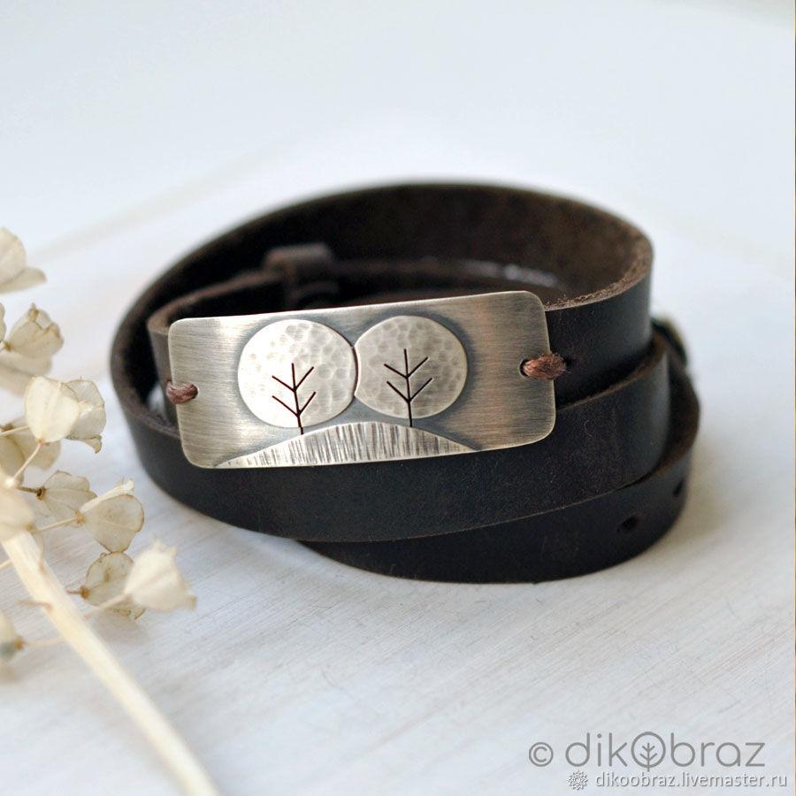 Браслет серебро на коже Деревья, Браслет-манжета, Москва,  Фото №1