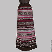 Одежда ручной работы. Ярмарка Мастеров - ручная работа Юбка - перуанка коричневая с клюквой  (макси). Handmade.