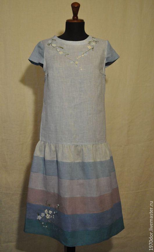 """Платья ручной работы. Ярмарка Мастеров - ручная работа. Купить Льняное платье """"Незабудка"""". Handmade. Голубой, одежда для женщин"""
