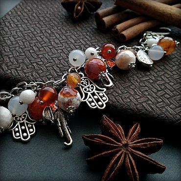Decorations handmade. Livemaster - original item Bracelet with natural stones, carnelian and agate, Silver elephants.. Handmade.