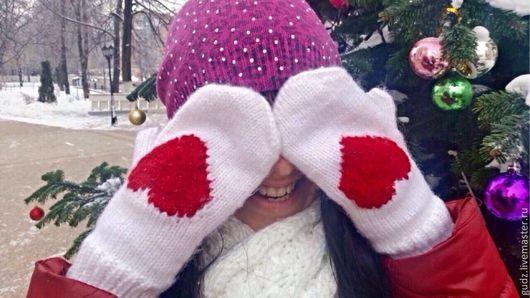 Варежки, митенки, перчатки ручной работы. Ярмарка Мастеров - ручная работа. Купить Варежки с сердечками ))). Handmade. Белый