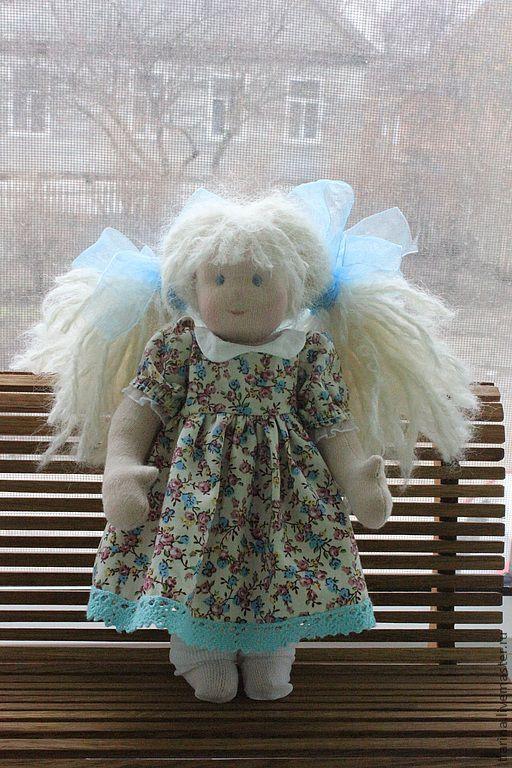 Вальдорфская игрушка ручной работы. Ярмарка Мастеров - ручная работа. Купить Вальдорфская кукла Неженка. Handmade. Голубой, хлопковый трикотаж