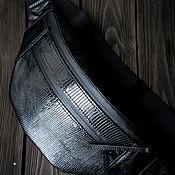 Сумки и аксессуары handmade. Livemaster - original item Waist bag made of genuine black monitor lizard leather. Handmade.