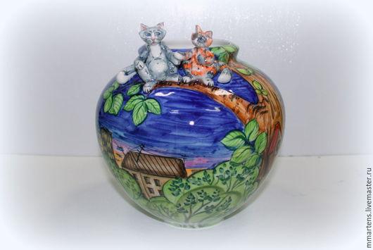 """Вазы ручной работы. Ярмарка Мастеров - ручная работа. Купить Ваза фарфоровая """"Коты на дереве"""". Handmade. Разноцветный, коты, ворона"""