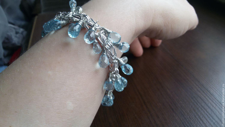 silver bracelet with topaz stones, Bead bracelet, Moscow,  Фото №1