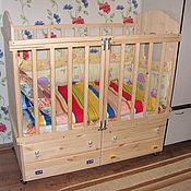 Для дома и интерьера ручной работы. Ярмарка Мастеров - ручная работа Детская кроватка 1200х600х1400 (подкатная). Handmade.