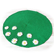Работы для детей, handmade. Livemaster - original item Round Mat for newborn photo shoots green with daisies. Handmade.