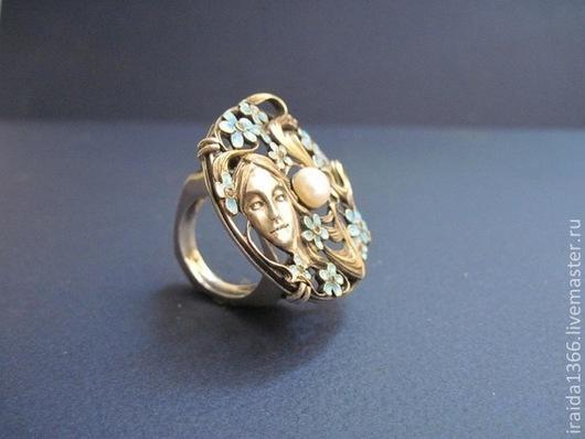 Кольца ручной работы. Ярмарка Мастеров - ручная работа. Купить кольцо с жемчугом и эмалью. Handmade. Серебро 925 пробы