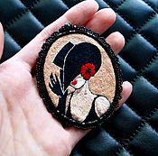 Украшения ручной работы. Ярмарка Мастеров - ручная работа Брошь вышитая гладью по картине художницы Lorraine Dell Wood. Handmade.