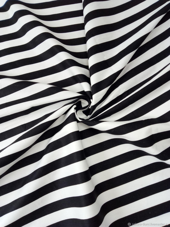Ткань Полоска черно-белая широкая (1 см) , сатин,, Ткани, Москва,  Фото №1