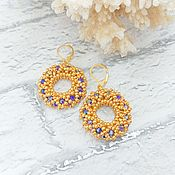 Украшения handmade. Livemaster - original item Hoop earrings: Blue crystal in gold. Handmade.