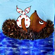 Одежда ручной работы. Ярмарка Мастеров - ручная работа Цветные футболки с Ежиком В Тумане. Handmade.