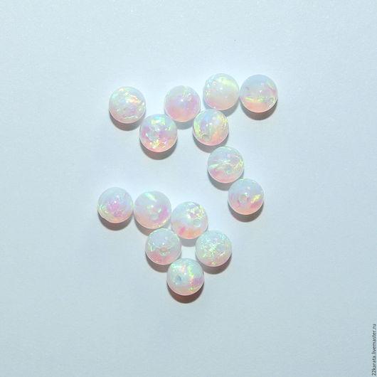 Для украшений ручной работы. Ярмарка Мастеров - ручная работа. Купить Опал синтетический, шар 4 белый/зеленый. Handmade. Комбинированный